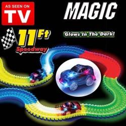 Magique Incroyablement Le Tracks Lumineux 220 Et Circuit Modulable Qui Dans Magic Pièces Flexibles Amusant Brille Noir kXiOPZu